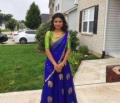 Woww Half Saree Lehenga, Lehenga Style, Saree Dress, Sarees, Half Saree Designs, Lehenga Designs, Saree Blouse Designs, Ethnic Fashion, Indian Fashion