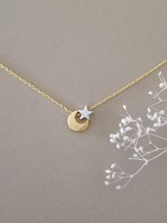 Moon and Star Necklace, Celestial jewelry, Crescent Moon and Star In Mixed Tone, Two Tone Necklace, Gift for Her Moon Jewelry, Cute Jewelry, Silver Jewelry, Jewelry Accessories, Jewelry Box, Star Necklace, Minimalist Jewelry, Necklace Lengths, Wedding Jewelry