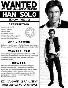 501st Legion - Alabama Garrison - Paper Props/Wanted: Han Solo