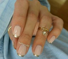 Pretty French Manicure with Gold Tips