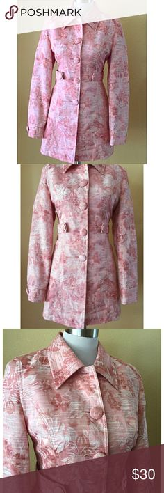 Arden B. Floral jacket/coat This is an adorable little coat/jacket. It is fully lined and cut in a flattering way to accentuate your figure, yet very comfortable. It is not a heavy jacket. Great for fall or spring. Excellent condition. Color is somewhere between peach and pink. Arden B Jackets & Coats