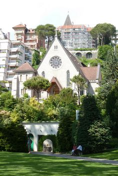 Montreux, Switzerland. The municipality stretches from Lake Geneva to the foothills of the Swiss Alps