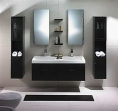 The Dolciano is a modern bathroom vanity set that embraces the latest trend in luxury modern bathroom design. Zen Bathroom, Double Sink Bathroom, Double Sink Vanity, Small Bathroom, Bathroom Ideas, Bathroom Vanities, Bathroom Lighting, Washroom, Bathroom Cabinets