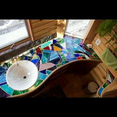 Mosaic counter top. Creative, diy, home decor, artwork, colorful