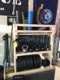 Garage Gym Weight Rack And Gym Equipment Organizer on Amazing Garage Ideas 5301 Home Gym Garage, Diy Home Gym, Home Gym Decor, Basement Gym, Best Home Gym, Basement Ideas, Cheap Home Gym, Garage Closet, Car Garage