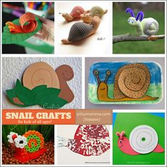Here are 16 silly snail crafts for kids of all ages to show you just how cute these little guys can be! Upcycle, learn, & create with snails Insect Crafts, Bug Crafts, Crafts For Kids To Make, Art For Kids, Animal Activities For Kids, Insect Activities, Snail Craft, How To Make A Paper Bag, Puppets For Kids