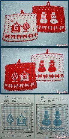 Немного приятных мелочей для своих взрослых детей - Вязание - Страна Мам Dishcloth Knitting Patterns, Crochet Dishcloths, Knitting Charts, Loom Knitting, Crochet Patterns, Crochet Christmas Ornaments, Christmas Knitting, Christmas Crafts, Crochet With Cotton Yarn