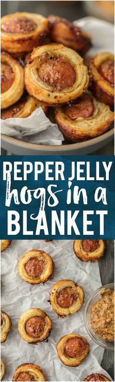 Pepper Jelly Hogs in a Blanket ~ sweetness of sausage, grainy mustard, and then just right spice of the pepper jelly make these a perfect appetizer! Delicious served either hot or cold!