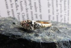 two tone  Diamond Antique Engagement Ring Handcrafted by lagnole, $575.00