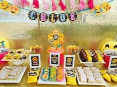 Sweet treats/candy buffet for Chloe's omg emoji party