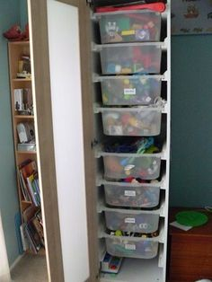 IKEA Hackers: Toy storage cabinet  If only I had the spare closet space in their room...