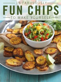 SUPER BOWL SUNDAY PARTY FOOD: Chips are a game day essential and crowd favorite. Here you'll learn how to easily make homemade chips like sweet potato chips, cinnamon curry apple chips, homemade doritos, spicy kale chips, cinnamon tortilla chips, and more! Click through for the delicious, easy, and fun snack ideas you *need* for your Super Bowl party.
