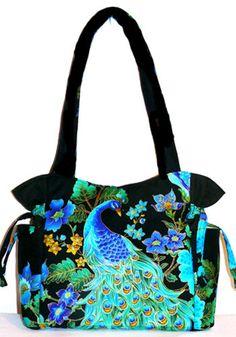 Peacock Blue Green Black Handbag, Purse, Tote, Shoulder Bag, Adjustable Strap, Outside Pockets
