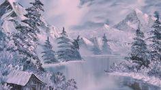 Wallpaper winter, art, painting, river, fir-trees, lodge, white