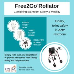 Rollator was designed for anyone currently using a raised toilet seat, toilet safety frame, or rollator. Bathroom Safety, Toilet, Restoration, Frame, Products, Picture Frame, Flush Toilet, Toilets, Frames
