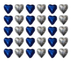 100 ROYAL BLUE AND SILVER CHOCOLATE HEARTS - WEDDING FAVOURS PARTIES CANDY BAR