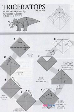 川畑文昭的三角龙折纸教程图解 Paper Art, Paper Crafts, Origami Instructions, Origami Art, Kirigami, Geometric Art, Prehistoric, Crafts For Kids, Drawings