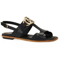 Exquisite, naturally grainy leather sandals embellished with metal chain detail, with ankle strap and leather outsole with embossed rubber pebbles.