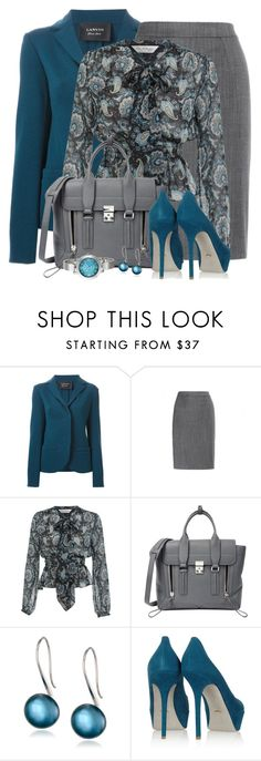 """""""Teal & Gray For the Office"""" by brendariley-1 ❤ liked on Polyvore featuring Lanvin, STELLA McCARTNEY, Miss Selfridge, 3.1 Phillip Lim, Honora, Sergio Rossi, Nine West, teal, grey and paisley"""