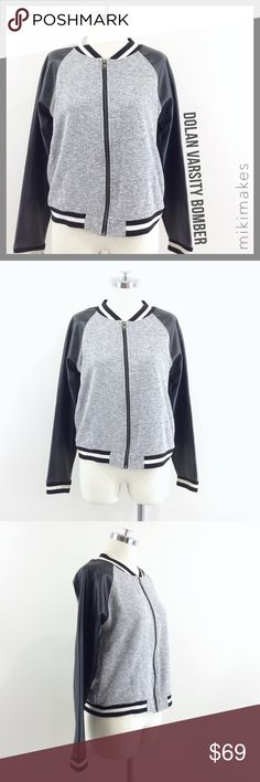 """🆕 DOLAN • varsity bomber jacket leather sleeves • comfy heathered grey terry varsity bomber jacket from Dolan t-shirt • black faux leather sleeves • cute striped ribbing at the neckline, hem and cuff • zip up front • side seam pockets • excellent pre-loved condition  40% rayon 17% polyester 43% cotton Sleeves:  95% polyurethane 5% polyester  ✂️  Bust = 40"""" ✂️  Waist = 38"""" ✂️  Length = 22""""  • sorry no trades • please feel free to ask any questions  ❤️,  @mikimakes  061917.7.69 Anthropologie…"""