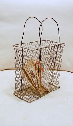 Vintage Wire Bag Basket