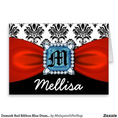 Damask Red Ribbon Blue Diamond Monogram And Name Greeting Card