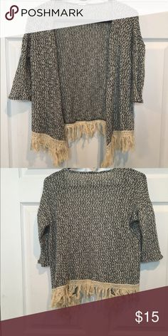 Printed Fringe Cardigan Excellent condition Sweaters Cardigans