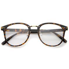 b6a82ccb86d8 Classic Metal Nose Bridge Clear Lens Square Horn Rimmed Glasses 52mm