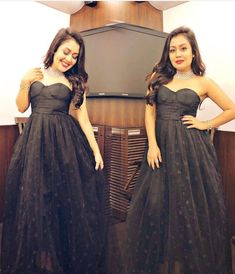 Black gown looking cute Bridesmaid Dresses, Prom Dresses, Formal Dresses, Wedding Dresses, Neha Kakkar Dresses, Beautiful Heroine, Beautiful Black Dresses, Indian Gowns, Dress Silhouette