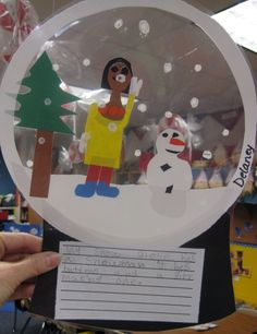 Winter snowglobe.....rectangle base and circle cut out inside and out...then add some snow at the bottom and a scene....laminate and add paint snow.  Write using adjectives to describe the scene.  Read:  Snow Globe Family by Jane O'Conner