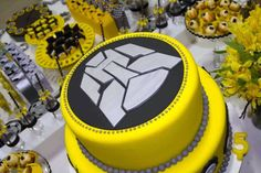 Transformers themed birthday party via Kara& Party Ideas . 4th Birthday Cakes, Birthday Party Themes, Chocolates, Transformers Birthday Parties, Transformer Birthday, Bee Party, Movie Party, Themed Cakes, Rescue Bots