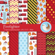 A fun set of Firefighter digital printable papers! These will be perfect for creating invitations, cards and more for a childrens birthday party.