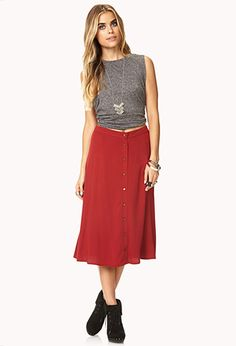 Buttoned A-Line Skirt | FOREVER21 - 2037362329