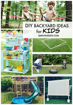 Awesome DIY Backyard ideas for Kids Great activities and ideas for summer activities for kids. Summer Activities For Kids, Summer Kids, Outdoor Activities, Diy For Kids, Pool Activities, Physical Activities, Outdoor Play Spaces, Outdoor Fun, Outdoor Games