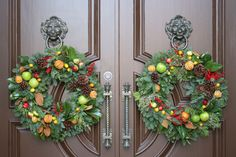 Fall Wreaths for a double entry