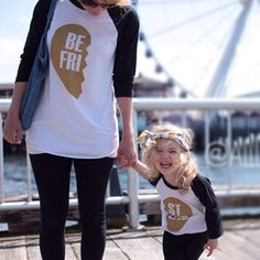 For the little best friend in your life - Best Friends Black/Gold Baseball Raglan. Normally I wouldn't pin mother-daughter matching outfits but we got this given to us as a baby shower gift, and I must say, I simply adore it now! My Baby Girl, Baby Kind, My Little Girl, Baby Love, Girl Outfits, Cute Outfits, My Princess, Mommy And Me, Kids Fashion