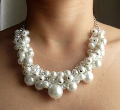 White Pearl Cluster Necklace Cluster Necklace Beaded by Eienblue, $28.00 on etsy