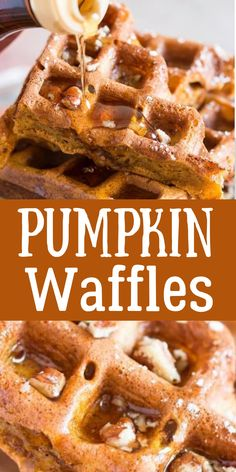 Simple Pumpkin Waffles Recipe - Savory Nothings Waffle Recipes, Brunch Recipes, Sweet Recipes, Breakfast Recipes, Dessert Recipes, Recipes Dinner, Casserole Recipes, Pasta Recipes, Crockpot Recipes