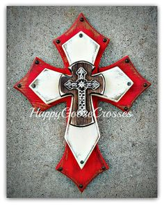 Wall Cross - Wood Cross - Medium - Antiqued Red, Beige, and Stain, with iron cross Mosaic Crosses, Wooden Crosses, Wall Crosses, Western Crafts, Western Decor, Old Rugged Cross, Jewelry Christmas Tree, Cross Art, Wall Wood