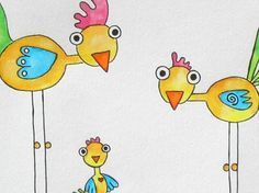 Funky Chicken Art | The LONG LEGGED series....Funky Chickens trio...great for a child's ... Chicken Art, Mixed Media, Clip Art, Graphics, Unique Jewelry, Handmade Gifts, Etsy, Vintage, Kid Craft Gifts