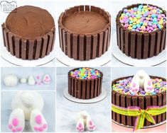 Easter Bunny Cake, Chocolate Easter Bunny, Chocolate Cake Mixes, Chocolate Frosting, Kit Kat Bars, Store Bought Frosting, Cake Pans, How To Make Cake, Cake Decorating