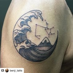 #Repost @benji_tatts with @repostapp Saggitarius and still water representing her daughter. Thanks Dayan. See ya real soon #waves #saggitarius #borneoinktattoos #tattoo #borneoink #tattoocloud #japanesewave