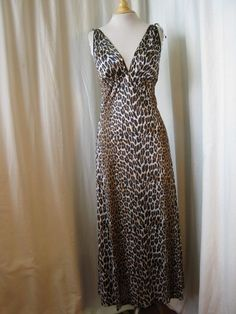 60's leopard print nylon nightgown with shoulder ties