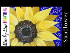 Learn how to paint a sunflower with acrylics on canvas. Beginners guide to painting a large yellow sunflower on canvas. Instructions and video included. Sunflower Canvas Paintings, Fall Canvas Painting, Canvas Painting Tutorials, Acrylic Painting For Beginners, Simple Acrylic Paintings, Diy Canvas Art, Diy Painting, Painting Videos, Easy Flower Painting