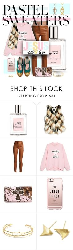 """""""Share THe GOOD News!!"""" by spicedblossom ❤ liked on Polyvore featuring philosophy, GUESS by Marciano, Balmain, Monki, Blazin Roxx, Casetify, Wouters & Hendrix Gold, DB Designs and pastelsweaters"""