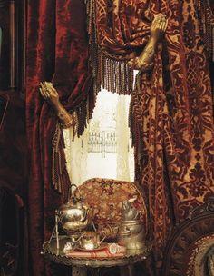 lush velvet and brocade panels with fringe ...old hand tie-backs...tea cozy...love