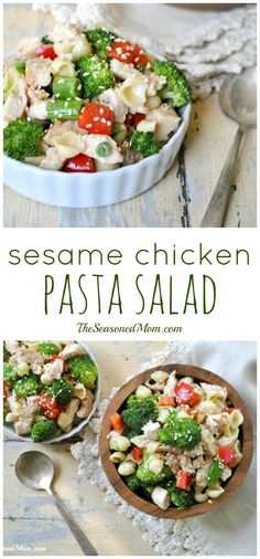 Sesame Chicken Pasta Salad is a healthy, family-favorite recipe that even the youngest kids love! Perfect for a summer main dish lunch or dinner, or a potluck side dish!
