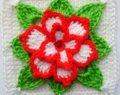 Instant Download Crochet PDF pattern - Poinsettia in square motif