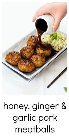 Honey Ginger and Garlic Pork Meatballs are sticky little balls of flavor the whole family will love. Baked, not fried, and they even make their own super sticky sauce right there when they are baking - perfect for pouring over some noodles when serving up Pork Recipes, Asian Recipes, Cooking Recipes, Healthy Recipes, Healthy Food, Recipies, Healthy Meals, Chicken Recipes, Pork Meals
