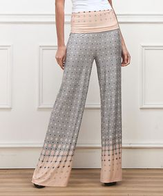 Look what I found on #zulily! Pink & Gray Gradient Dot High-Waist Palazzo Pants #zulilyfinds